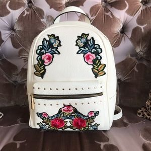 ALDO Backpack Embroidered Floral Creamy White